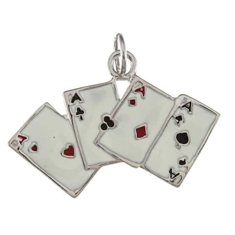 La Preciosa Sterling Silver Enamel Ace Playing Cards Charm