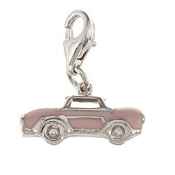 La Preciosa Sterling Silver Pink Enamel Car Charm