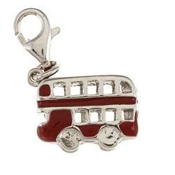La Preciosa Sterling Silver Red Enamel Double-decker Bus Charm