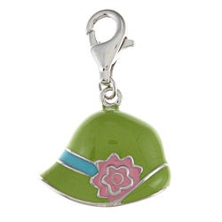 La Preciosa Sterling Silver Enamel Hat and Flower Charm
