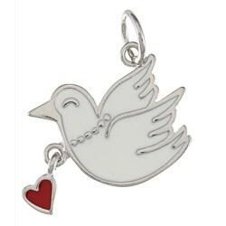 La Preciosa Sterling Silver White Dove and Red Heart Enamel Charm