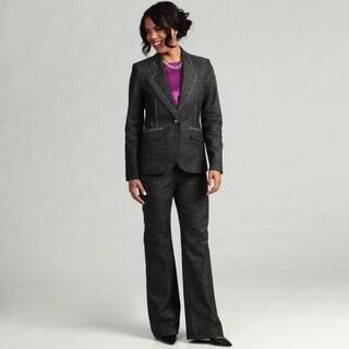 Nine West Women's Black/ Ivory 1-button Pant Suit