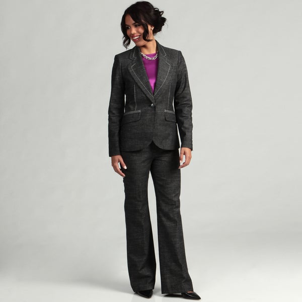 Nine West Women's Black/ Ivory 1-button Pant Suit