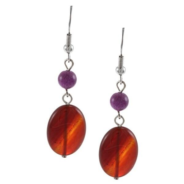 Crystale Silvertone Carnelian and Amethyst Bead Earrings