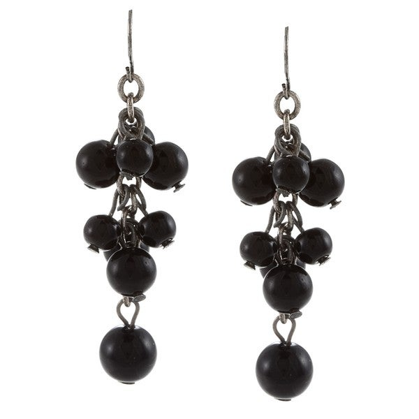 Crystale Silvertone Genuine Onyx Bead Cluster Earrings