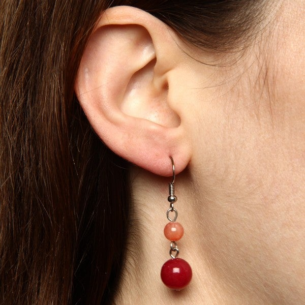 Crystale Silvertone Red Jade and Coral Bead Drop Earrings