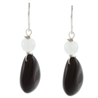 Crystale Silvertone Genuine Onyx and White Quartz Teardrop Earrings
