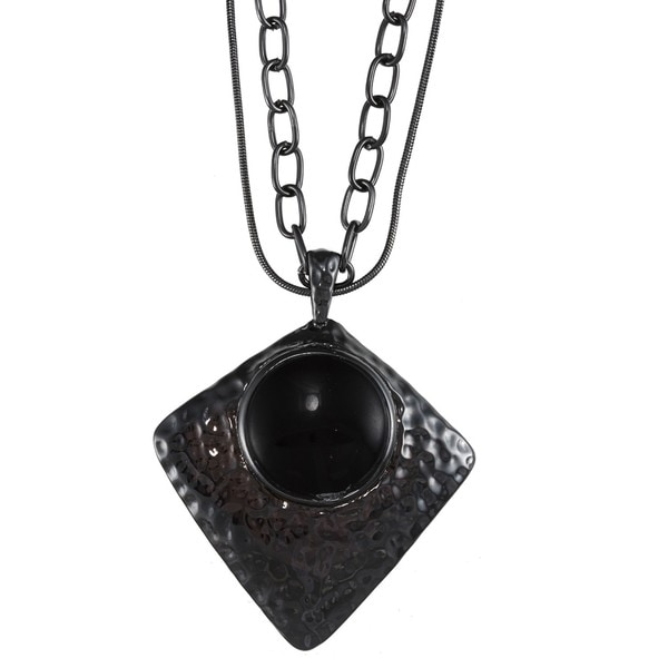 Crystale Gunmetal-plated Onyx Diamond-shaped Necklace