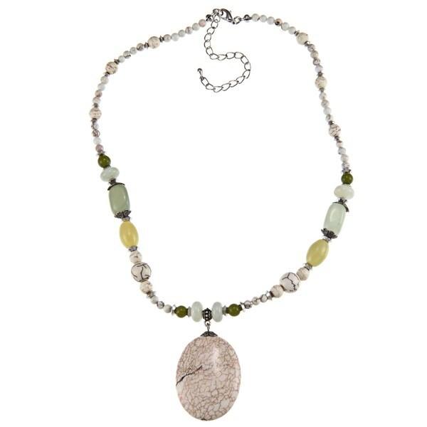 Crystale Silvertone White Howlite and Adventurine Necklace