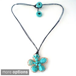 Handmade Floral Chic Cotton Rope Necklace (Thailand)
