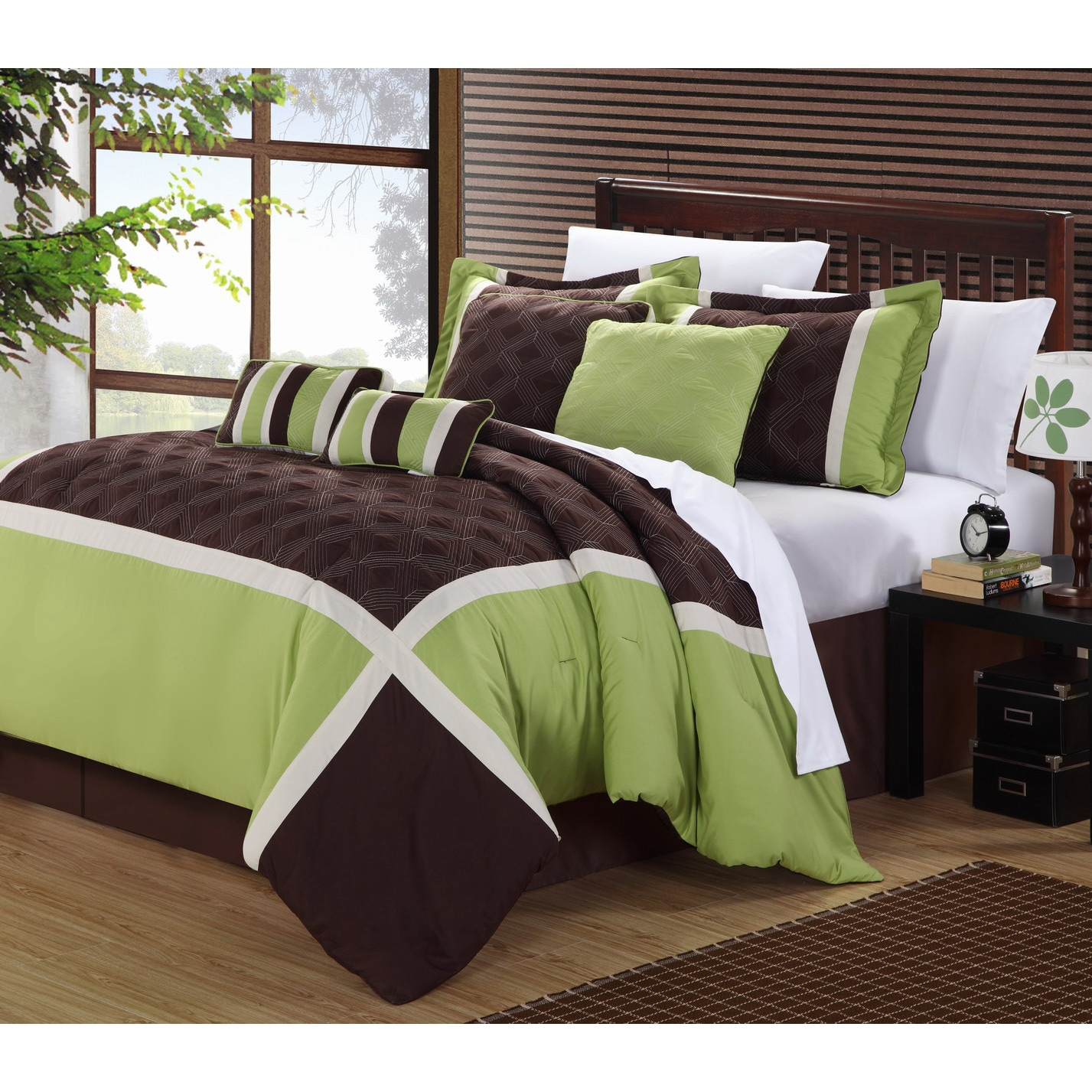 Shop Green Brown Oversized 8 Piece Comforter Set On Sale