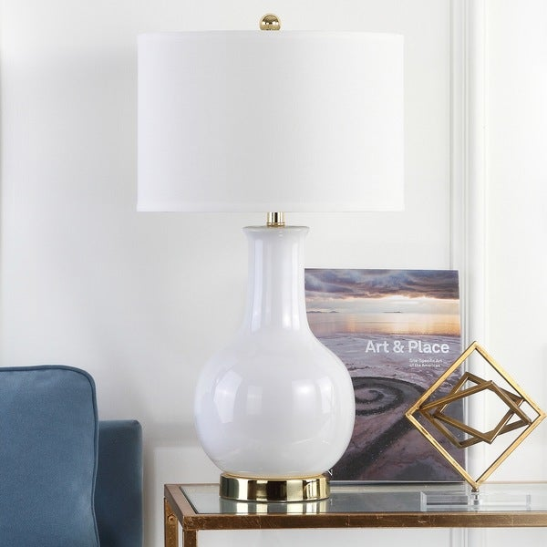 "Safavieh Lighting 27-inch Louvre White Table Lamp - 15""x15""x27.5"""
