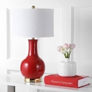"Safavieh Lighting 28-inch Louvre Red Table Lamp - 15""x15""x27.5"""