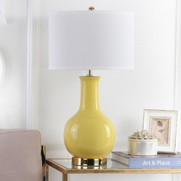 Safavieh Lighting 27.5-inch Louvre Yellow Table Lamp