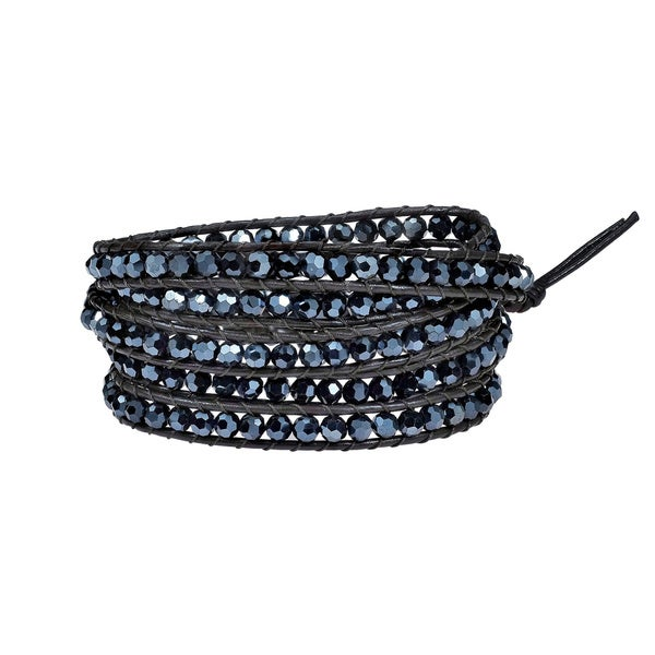 Handmade Mystique Colored Crystal 5-wrap Leather Bracelet (Thailand)
