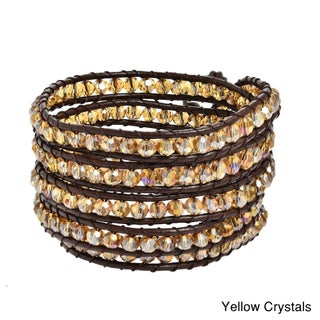 Handmade Mystique Colored Crystal 5-wrap Leather Bracelet (Thailand) (Option: Yellow Crystal)