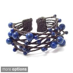 Handmade Blue Criss Cross Lapis Cotton Rope Cuff (Thailand)
