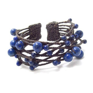 Handmade Blue Criss Cross Lapis Cotton Rope Cuff (Thailand)