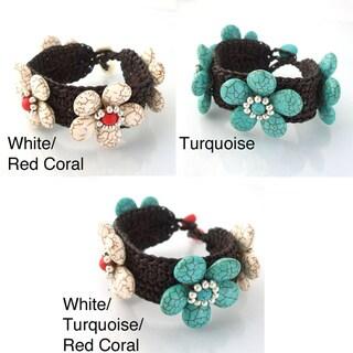 Handmade  Petals Cotton Rope Sweet Floral Bracelet (Thailand)