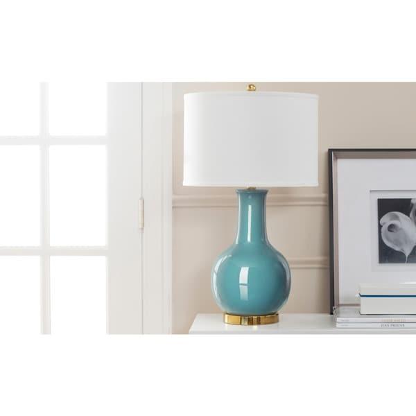 Safavieh Lighting 27.5-inch Louvre Light Blue Table Lamp