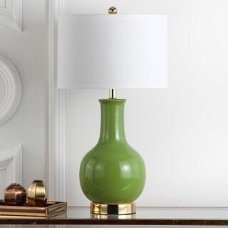 "Safavieh Lighting 28-inch Louvre Green Table Lamp - 15""x15""x27.5"""