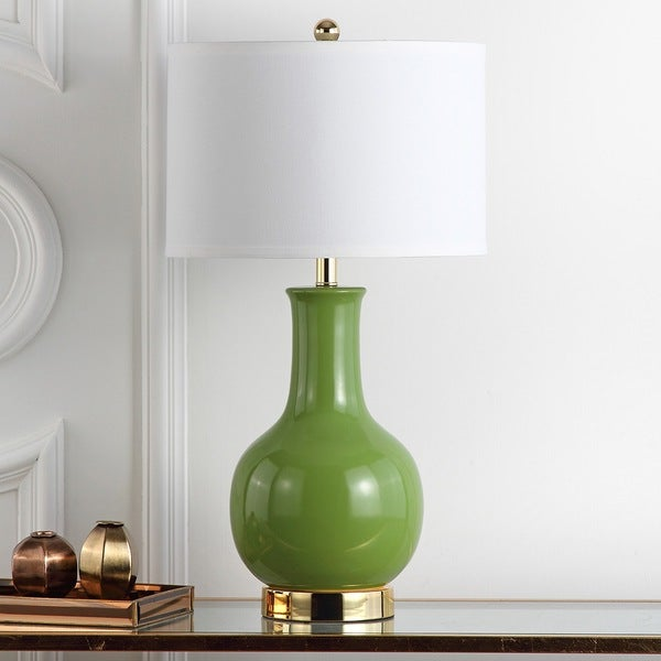 Safavieh Lighting 27.5-inch Louvre Green Table Lamp