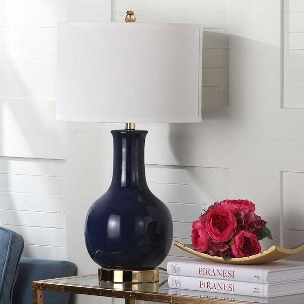 Safavieh Lighting 27.5-inch Louvre Royal Blue Table Lamp