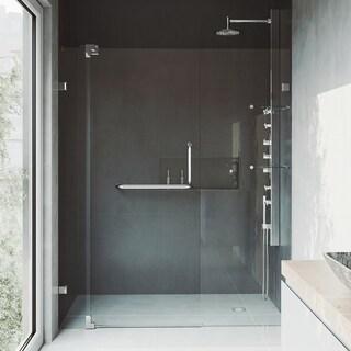 VIGO Pirouette 60-inch Frameless Shower Door .375-in. Clear Glass/Chrome Hardware