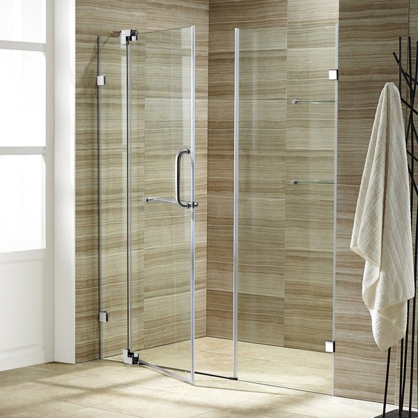 VIGO Pirouette 60-inch Frameless Shower Door .375-in. Clear Glass/Chrome Hardware