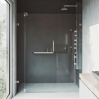 VIGO 66-inch Frameless Brushed Nickel Clear Glass Shower Door