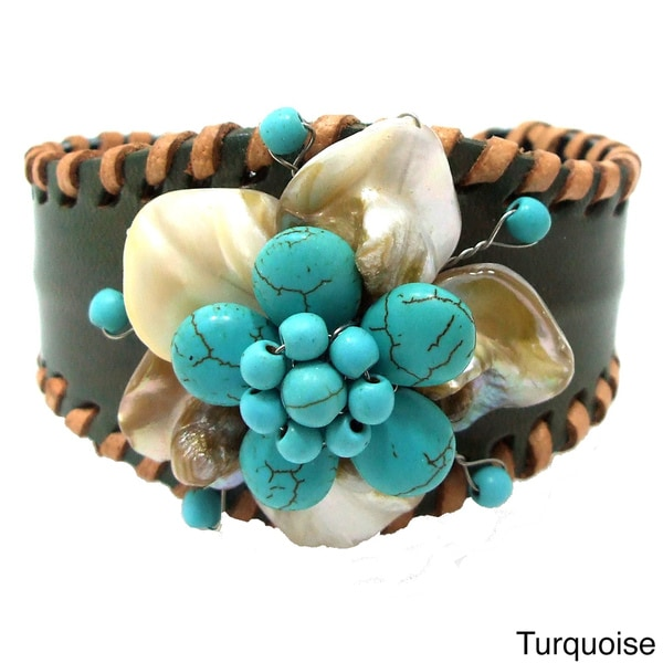 Turquoise Leather Floral Remark Mother of Pearl Cuff (Thailand)