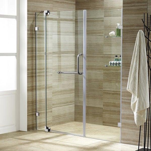 VIGO Pirouette 66-inch Frameless Shower Door .375-in. Clear Glass/Chrome Hardware