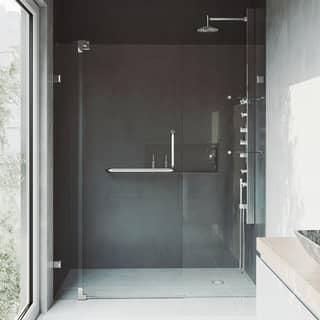 VIGO Pirouette 60 inch Frameless Shower Door  375 in  Clear Glass. Frameless Shower Doors For Less   Overstock com