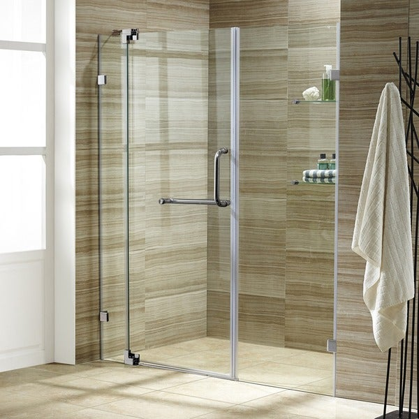 VIGO Pirouette 60-inch Frameless Shower Door .375-in. Clear Glass/Brushed Nickel Hardware