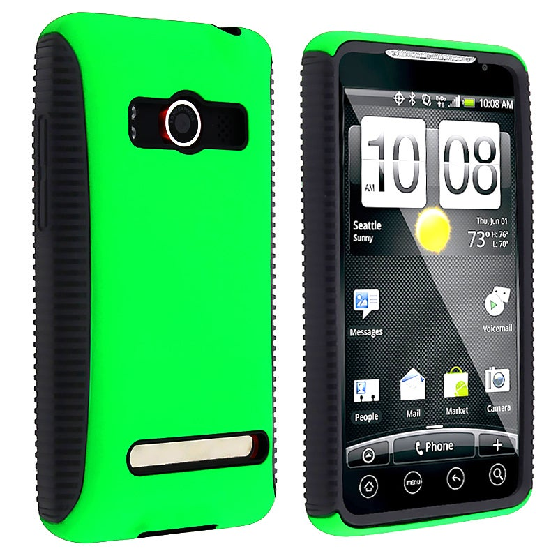 Black TPU/ Green Hard Hybrid Case for HTC EVO 4G