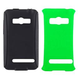 Black TPU/ Green Hard Hybrid Case for HTC EVO 4G - Thumbnail 1