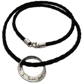 'I Love You More Mobius' Sterling Silver and Leather Necklace (Thailand)