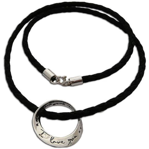 Handmade I Love You Sterling Silver and Leather Necklace (Thailand)