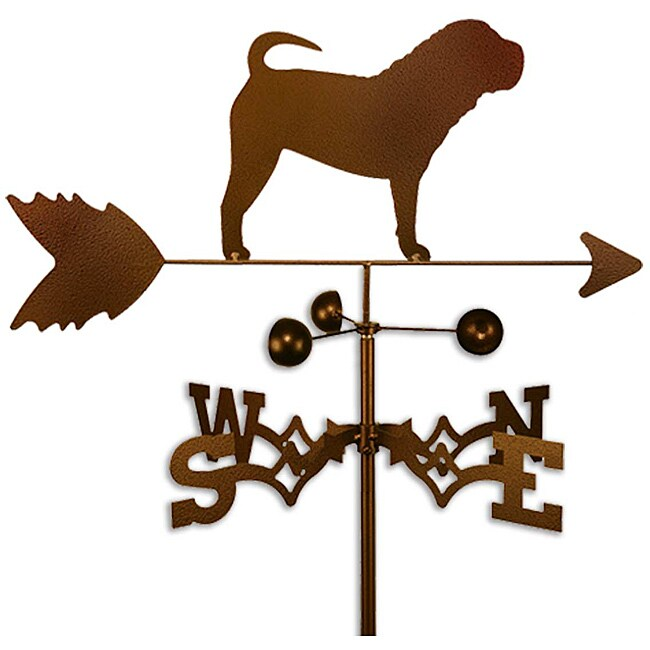 Handmade Shar Pei Dog Copper Weathervane (Side Mount)