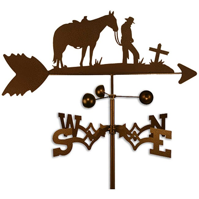 Handmade Cowboy with Horse and Cross Copper Weathervane