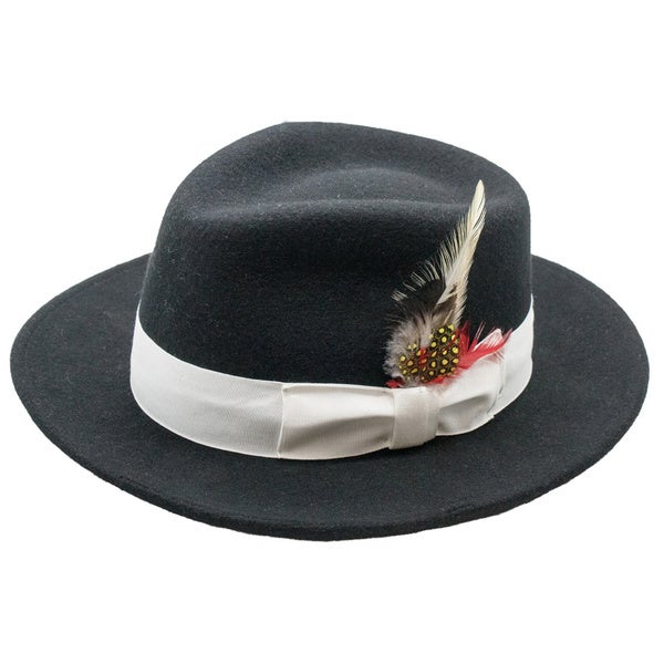 Ferrecci Men's Black Wool White Banded Fedora Hat