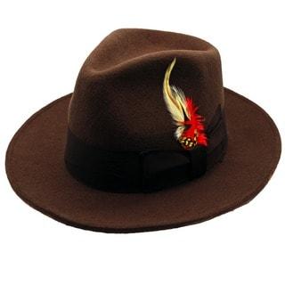 Ferrecci Men's Brown Wool Banded Fedora Hat