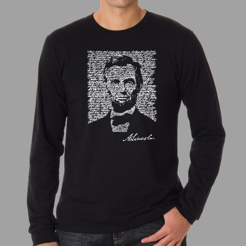 Los Angeles Pop Art Men's Abe Lincoln Long Sleeve T-Shirt
