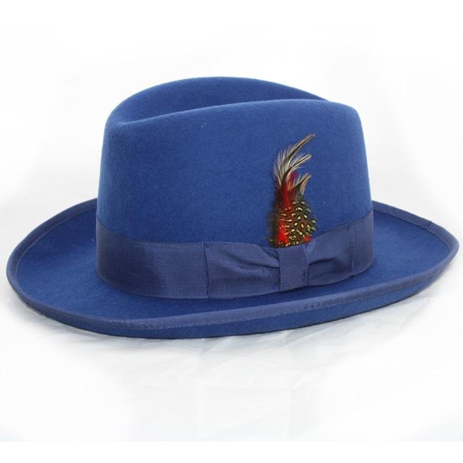 Ferrecci Men's 'Godfather' Blue Wool Fedora Hat
