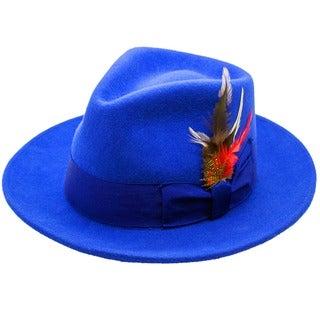Ferrecci Men's Royal Blue Wool Felt Fedora Hat