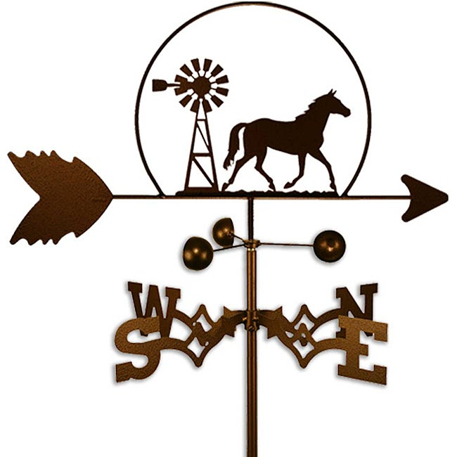 Handmade Equestrian Quarter Horse and Windmill Weathervane