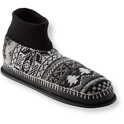 Muk Luks Men's 'Cullen' Black Nordic Knit Ankle Slippers - Thumbnail 1