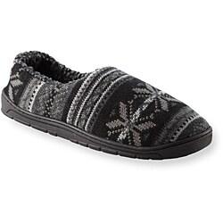 Muk Luks Men's 'John' Black Fairisle Knit Foot Slippers - Thumbnail 1