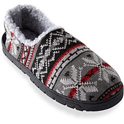 Muk Luks Men's 'John' Red Fairisle Knit Foot Slippers - Thumbnail 1