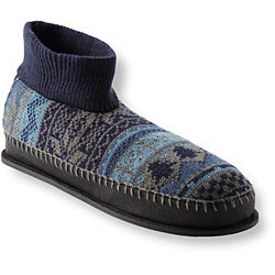 Muk Luks Men's 'Cullen' Blue Nordic Knit Ankle Slippers - Thumbnail 1